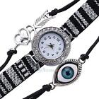 Duoya Women Perty Dress Watch Luxury Crystal Leather Quartz Bracelet Wristwatch