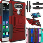 For LG V20 Shockproof Hybrid Rubber Armor Heavy Duty Belt Clip Stand Case Cover