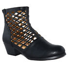 Chase & Chloe ED76 Women's Laser Cut Out Back Zipper Stacked Ankle Booties