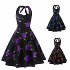 Women Vintage Style Floral Printed Swing Pinup Cocktail Party Sleeveless Backles