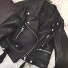 Women's Oversized Lambskin Leather Belted Classic Bomber Jacket Biker S-5XL