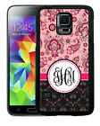 MONOGRAMMED RUBBER CASE FOR SAMSUNG NOTE 3 4 5 7 PINK PAISLEY FLORAL DAMASK