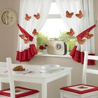 One Pair Of 3D Red Butterfly Design Kitchen Curtains ~  Inc TieBacks