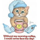 Cat Shirt, Sleepy Cat Needs Morning Coffee To Face Day, Funny Kitten Shirt