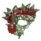 Handcrafted Fairy Flower Queen of Hearts Halloween Costume Leather Rose Eye Mask