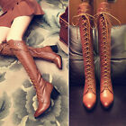 Fashion Womens Riding Shoes Knight Knee high Boots Lace Up Zip Mid Heel Block