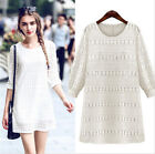 White Autumn/Winter Women Casual 3/4 sleeve Lace Dress Fashion Skirt New Style
