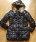 Women's winter warm Puffer Coat removable Fur Trim Hood Quilted Jacket Black M