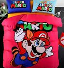 *** Red Super Mario Queen Bed Quilt Cover Set - Flat or Fitted Sheet ***