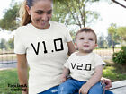 V1.0 V2.0 Computer Gaming Code Games Mothers Son Dauther Mum Matching T Shirt