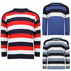 MENS KNITTED CREW NECK LONG SLEEVE STRIPE JUMPER PULLOVER WARM TOP SIZE NEW
