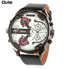 Oulm 3548 Men's 2 Movement Big Dial Quartz Watch Leather Band Sports WristWatch