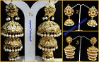 Choose Pearl Cz Kundan Multi Golden Triple Punjabi Jhumki Earring-DiwaliSale-16