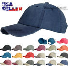 New Plain Washed Baseball Cap Cotton Curved Bill Plain Solid Adjustable Hat Caps