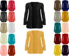 WOMENS LADIES GIRLS LONG SLEEVE BOYFRIEND CARDIGAN TOP OPEN POCKET PLUS SIZES
