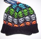 OLD NAVY Boys Hat Size 12 24 months SKULL Sweater Knit Brimmed Beanie Black NEW