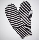GAP Womens Mittens One Size Striped Sweater Knit Black & Ivory NEW