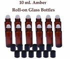 Amber Glass Roll On Roller Bottles 10 ml for Essential Oils,