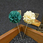 1pc Men Handmade Flower Brooch Lapel Pin Suit Boutonniere Button Stick Brooches