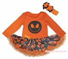 Halloween Jack Orange L/S Bodysuit Girl Pumpkin Spider Web Baby Dress Set NB-18M