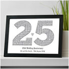 25th Silver Wedding Anniversary Gift Personalised Word Art Print 25 Years Gifts