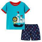Pyjamas Baby Boys Summer Pjs Set (Sz 0-2) Aqua Blue Pirate Ship Size 0 1 2