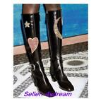 Women's Retro Fashion Block High Heel Floral Embroidery Tall Knee High Booties