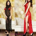 Long dress woman lingerie lace floral tight deep split sexy DL-1318