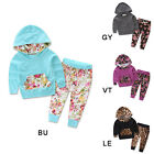 Baby Girl Autumn Warm Hooded Leopard Print Toddler Kids Tops+Pants Outfits 2Pcs