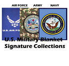 US Military Emblem Logo Plush Mink Blanket Queen Size - Army/Air Force/Navy