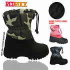 KIDS INFANTS BOYS GIRLS WINTER SNOW MUCKER ARMY BOOTS CAMOUFLAGE TOGGLE BOOTS