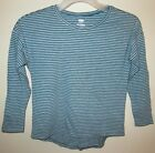 Boys Thin Striped Long Sleeve Crew Neck T-Shirt Blue and Gray