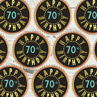 24 x 70TH BIRTHDAY BLACK GOLD BLING Edible Cupcake Wafer Icing Cake Toppers