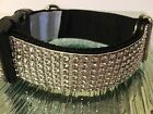 Rhinestone/Diamante Dog Collar Black Nylon Backing Quick Release Buckle Unisex