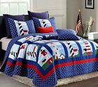 Blue & White Nautical Seashore Lighthouse Twin Full/Queen or King Size Quilt Set