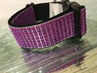 Rhinestone Bling Dog Collar Elegant Sparkly Adjustable Nylon Backing Unisex