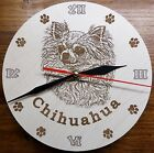 NEW selectable breeds Round Wooden Engraved DOG Wall Clock with custom Name text