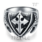 High Quality TTstyle 316L Stainless Steel Shield Cross Ring Choose Size