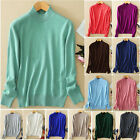 Womens Ladies Wool Cashmere Turtleneck Pullover Stretch Knit Sweater Cardigans