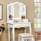 2 PC White Pink Tri-Mirror Double-Decker 4 Drawers Wood Make up Table Vanity Set