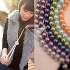 1PC Women Elegant Long Sweater Glass Pearl Necklace Bride Wedding Bridal 150cm