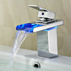 LED Glass Spout Bathroom Sink Mixer Faucet Gold Finish Waterfall Mixer Tap