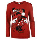 Ladies Womens Red Disney Christmas Xmas Minnie Mouse Knitted Jumper Sweater Top