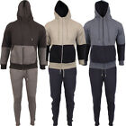 Mens CONTRAST Tracksuit Full Set Fleece Hoodie Top Bottoms Jogging Joggers Gym