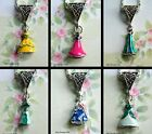 DISNEY PRINCESS DRESS CHARM NECKLACE ENAMEL DELICATE SMALL PENDANT ELSA ARIEL
