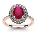 14K ROSE GOLD 2 CARAT OVAL SHAPE RUBY AND DOUBLE HALO DIAMOND RING