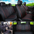 S M L PU Leather 5-Seats Auto Car Seat Cover Front + Rear Set Black / Red