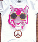 """LADIES WHITE RUSSELL FUNNY """"PEACE TIGER"""" T-SHIRT ANIMAL SPARKLE ZOO CAT KITTEN"""