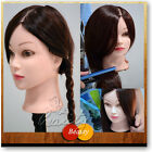 """22""""50% Human Hairdressing Training Real Hair Salon Practice Head Clamp Mannequin"""