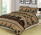 King, Queen, or Twin Quilt Bed Set Bear Elk Log Cabin Lodge Rustic image